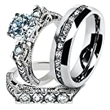 His & Hers Stainless Steel 2.95 Ct Cz Bridal Set & Men's Eternity Wedding Band Women's Women's Size 08 Men's 06mm Size 07