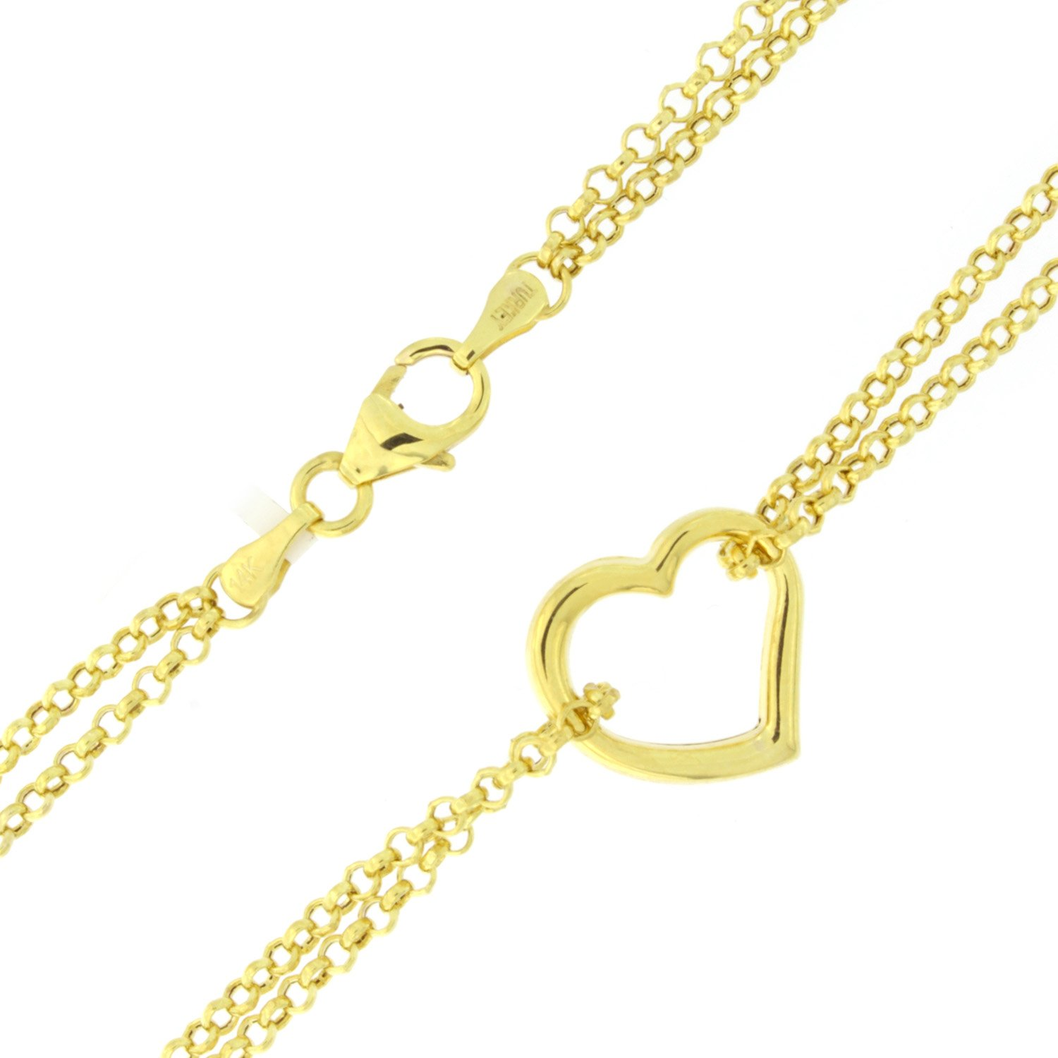 10k Yellow Gold Double Chain Heart Anklet - 10''