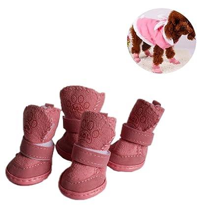 4pcs Chaussures Pour Animaux Automne Et En Hiver Casual Chaussures Chien Imperméable Résistant À L'usure lVWC7
