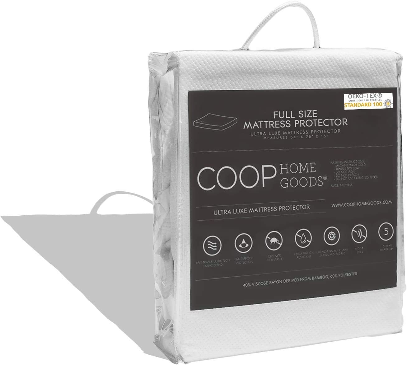COOP HOME GOODS - Mattress Protector - Waterproof and Hypoallergenic - Soft and Noiseless Lulltra® Fabric from Bamboo Derived Rayon - Protection Against fluids - Oeko-TEX Certified - Full