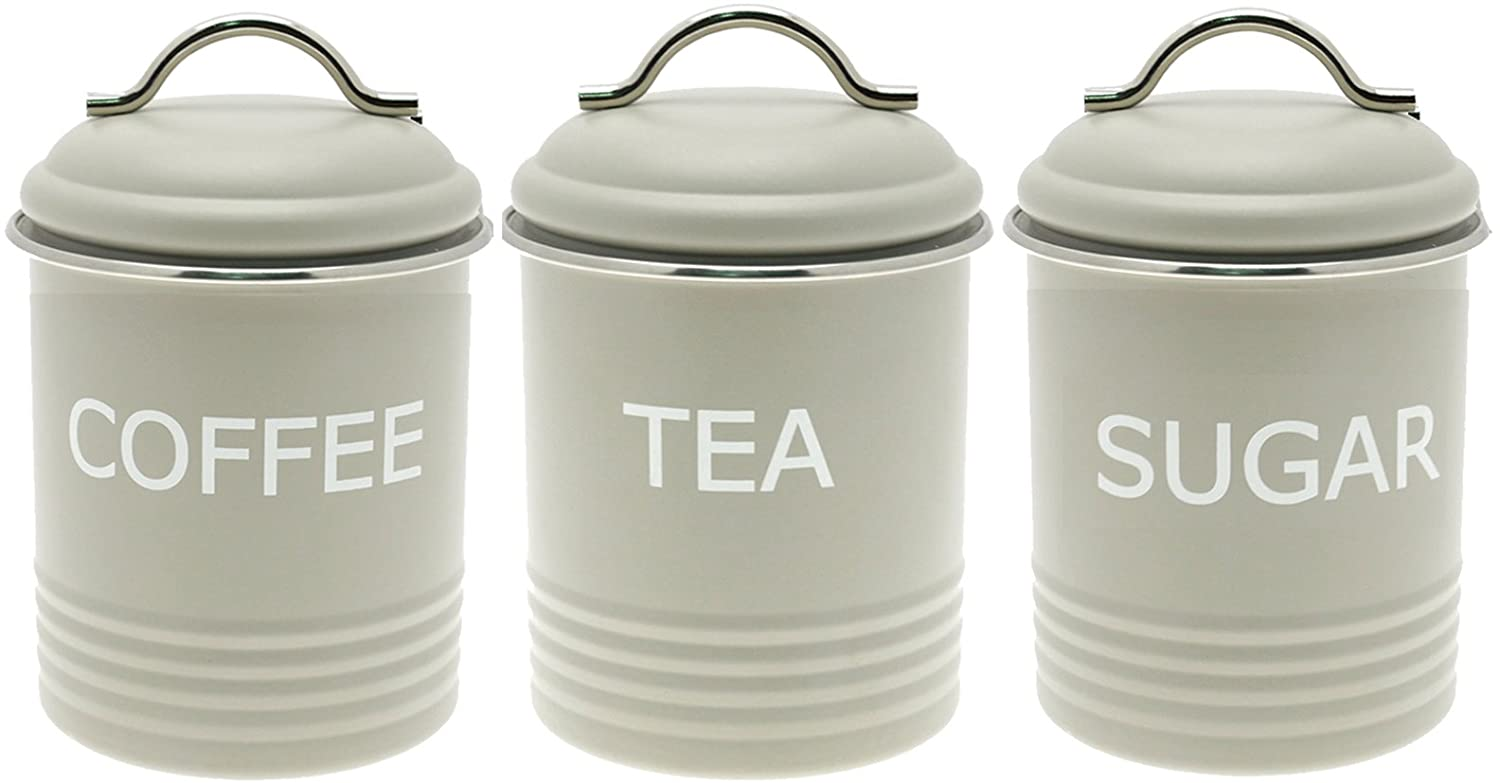 Set of 3 vintage retro style metal tea coffee and sugar canisters in matt olive finish amazon co uk kitchen home