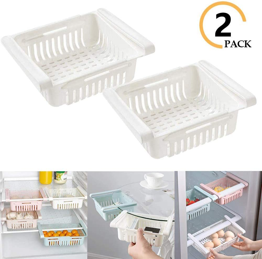 NEKRASH Fridge Retractable Storage Drawer, Stretchable Drawer Organizer with Air Vent and Hanging Buckle Preserve Foods in Refrigerator (White)