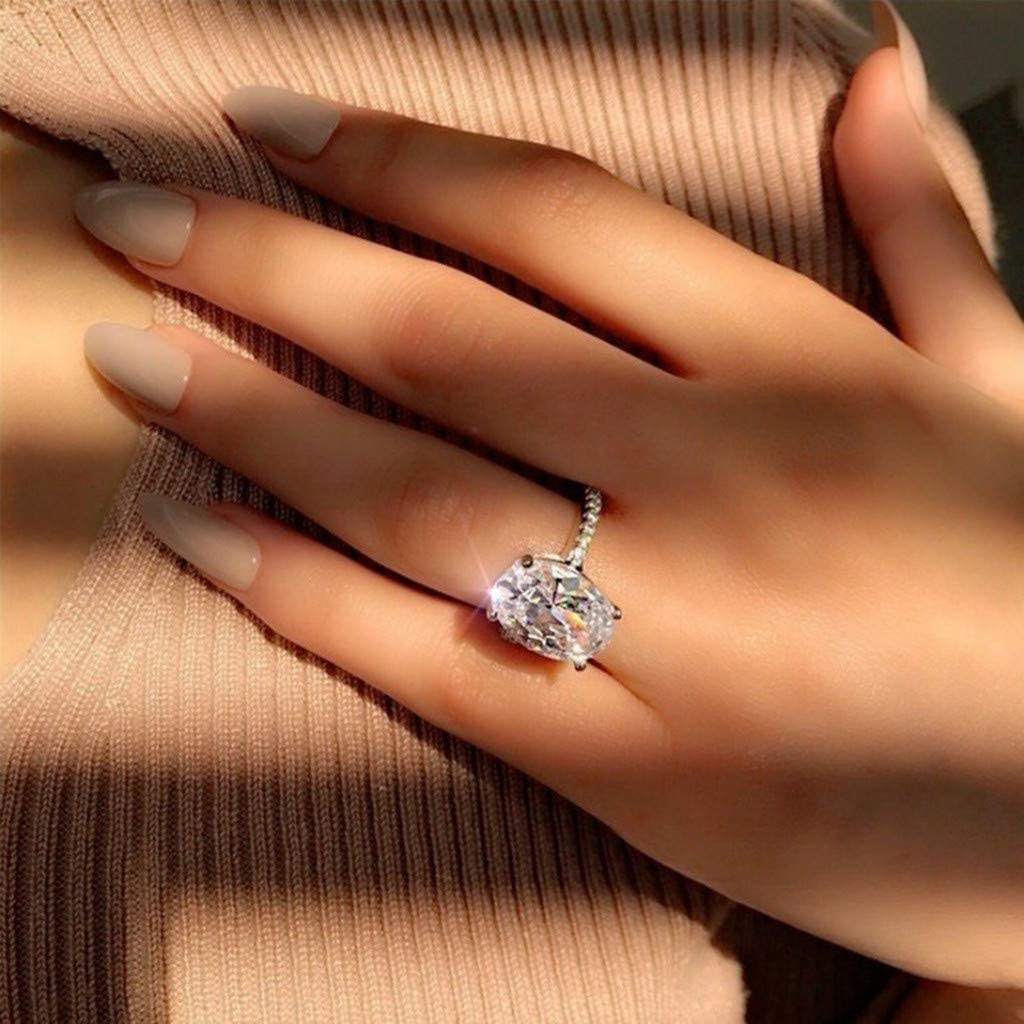 Oval White Diamond Silver Ring for Women Ladies Girls Fashion Simple Luxury Band Engagement Wedding Ring Jewelry