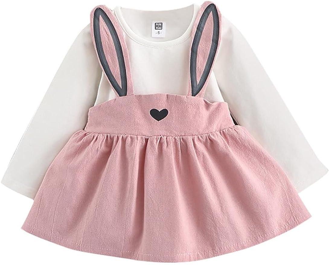 Longra Herbst Baby Kinder Kleinkind M/ädchen Kleidung Kaninchen Prinzessin Kleid M/ädchen Langarm Bandage Anzug Mini Kleid 0-36Monate