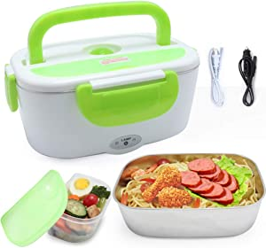 VECH Car Electric Heating Lunch Box 110V & 12V 40W 2 in1 Home Electric Thermal Lunch Box Food Heater Warmer, Stainless Steel Food Heater 1.5L for Heat Preservation, Office, School, Traveling (Green)
