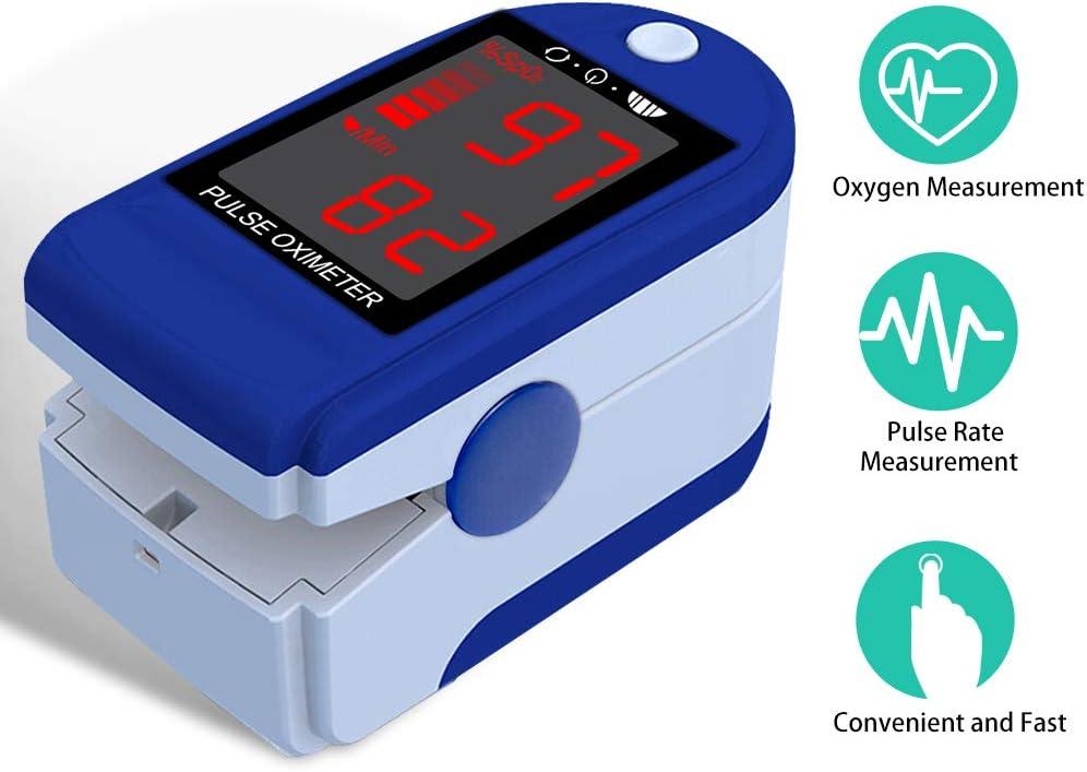 Tihokile Oxímetro de Pulso, Pulsioxímetro de Dedo,Monitor de Frecuencia Cardíaca con Oxígeno en la Sangre, Medición Rápida, Lectura Fácil, Pantalla LED Grande con Cordón