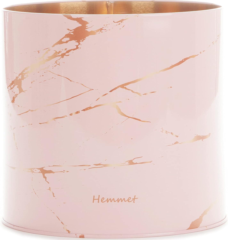 Hemmet Kitchen Utensil Holder for Countertop Organizer, 6.5″ Large Utensil Crock, Farmhouse Utensil Caddy for Home Décor, Jumbo Spatula Holder, Rustic Apartment Essentials, Modern Pink Marble Design