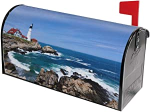 Lighthouse Scenery Sea Wave White Cloud Mailbox Covers Magnetic Post Box Cover Wraps Standard Size 21x18 Inches for Garden Yard Decor