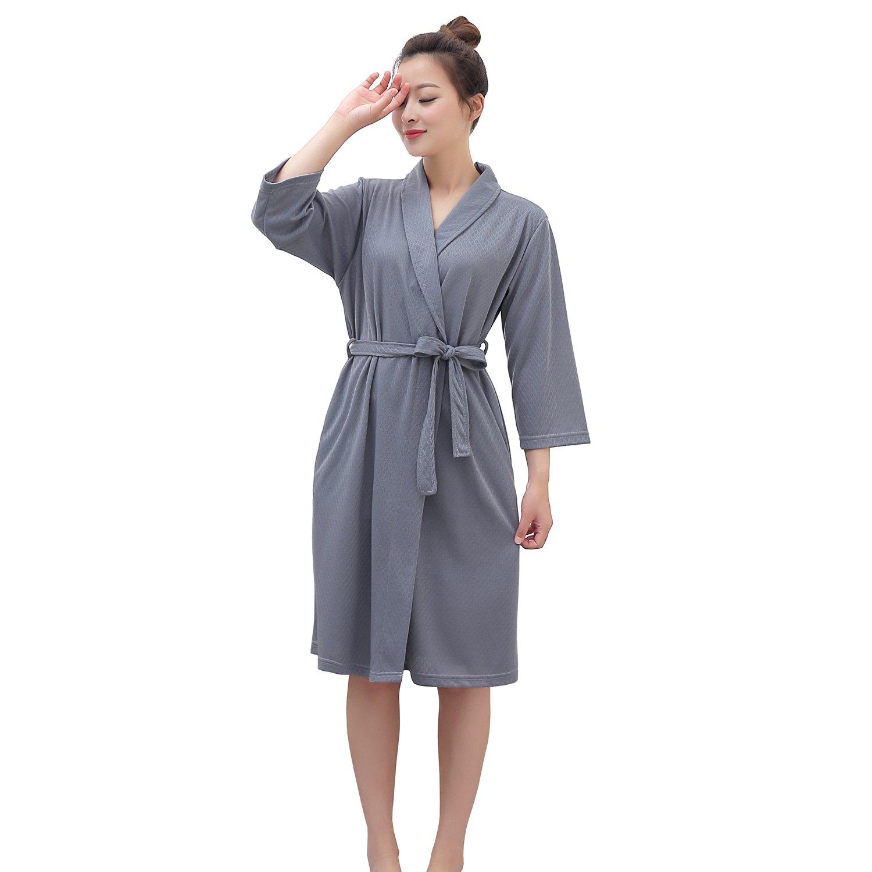 Vraquir Womens Waffle Bathrobe 3/4 Long Sleeves Kimono Lightweight Pajamas Loungewear Summer Hotel Spa Robe with Belt Grey Large/X-Large