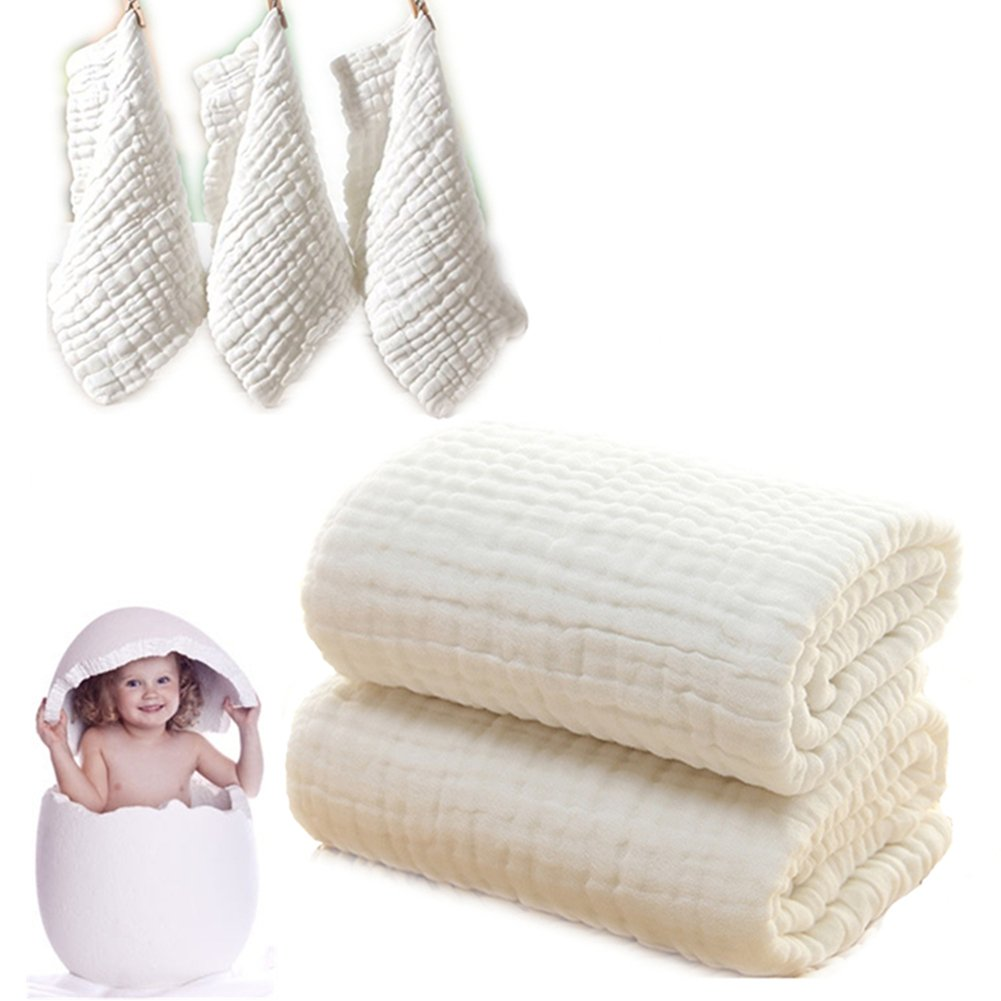 Baby Bath Towels and Washcloths Set Also For Baby Swaddle Blanket and Baby Face Cloth, (5 PC Value Pack) Super Soft 100% Organic Muslin Cotton - Ideal for Baby Care Gift Sets By MUKIN