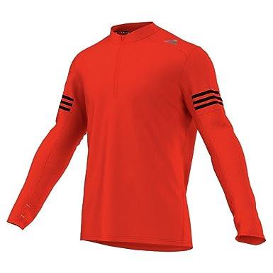 Adidas Response Long Sleeve Mens Running Top Orange Activewear Shirts