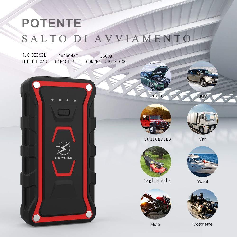 Adatto a Tutti i Veicoli a Benzina o 7.0L Diesel 1500A 20000mAh Avviatore Emergenza per Auto con Doppie Porte USB Flylinktech Avviatore di Emergenza 12V Jump Starter,Torcia a LED