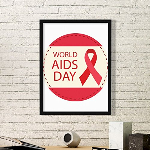 DIYthinker World AIDS Day 1st December Red Ribbon Awareness HIV Solidarity Symbol Simple Picture Frame Art Prints of Paintings Home Wall Decal