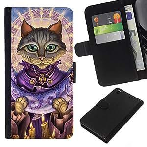 KLONGSHOP // Tirón de la caja Cartera de cuero con ranuras para tarjetas - Salmón San gato Dios Arte grises Ojos verdes - HTC DESIRE 816 //