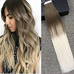 """Full Shine 16"""" Tape in Hair Extensions Human Hair Ombre Extensions Balayage Tape Extensions Dip Dye Real Hair Extensions Color #8 Fading to #60 Plautinum Blonde 50g 20 Pcs Per Package"""