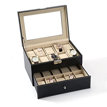 Delicieux Decorative Jewelry Boxes,Double Layer 20 Bit Watch Storage Box Sorting  Accessories Display Large