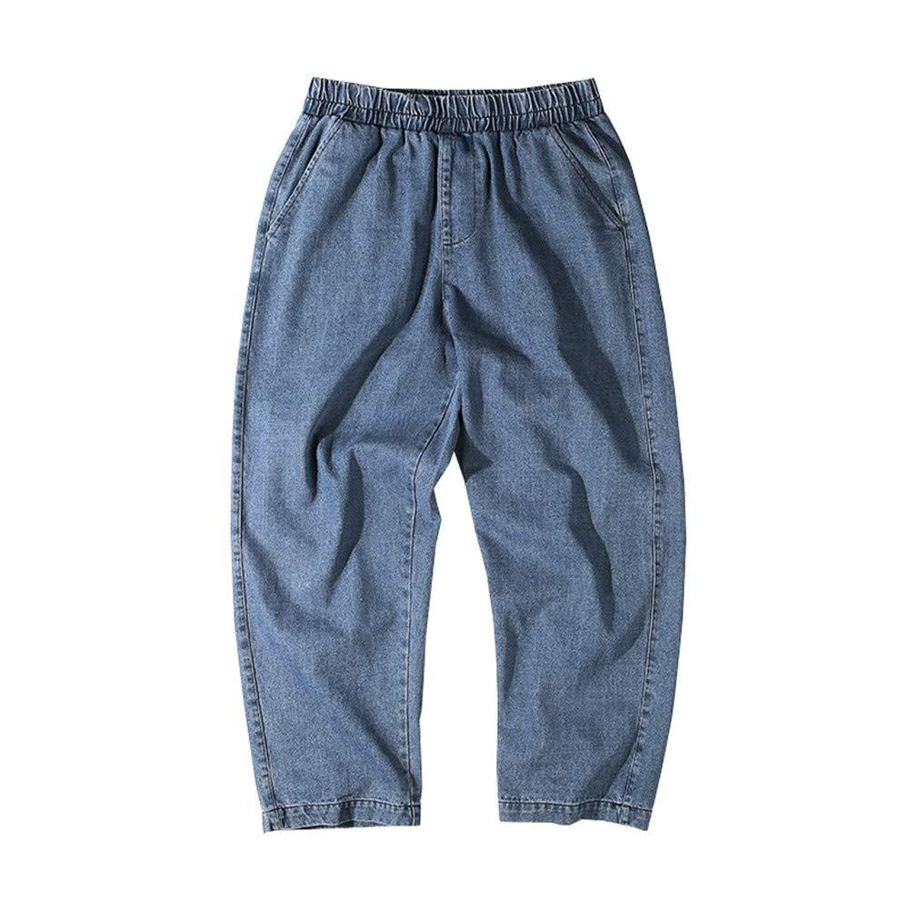 EVEORSSRA Jeanshosen Herbst Retro Wash Blau Lose Jeans Mode Männer Casual Breites Bein Hosen Gerade Hosen