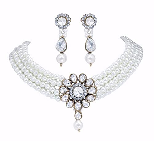 f280ac26c Buy PADMAWATI BANGLES White Alloy Pearl Crystal Stone Choker Necklace  Earrings Jewellery Set for Women Online at Low Prices in India | Amazon  Jewellery ...