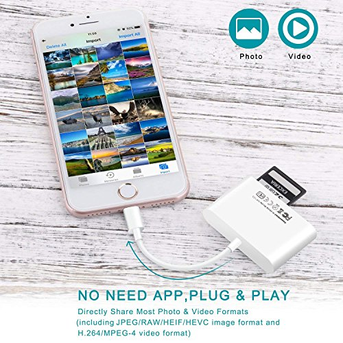 SD Card Reader, Lightning to USB Camera Adapter Memory Card SD/TF Card Reader, Trail Game Camera Adapter for iPhoneX/ 8/ 8plus/ 7/ 7plus/ 6s/ 6s plus/SE/ 5s, iPad Pro/Air/ Mini and iPod by RayCue (Image #3)