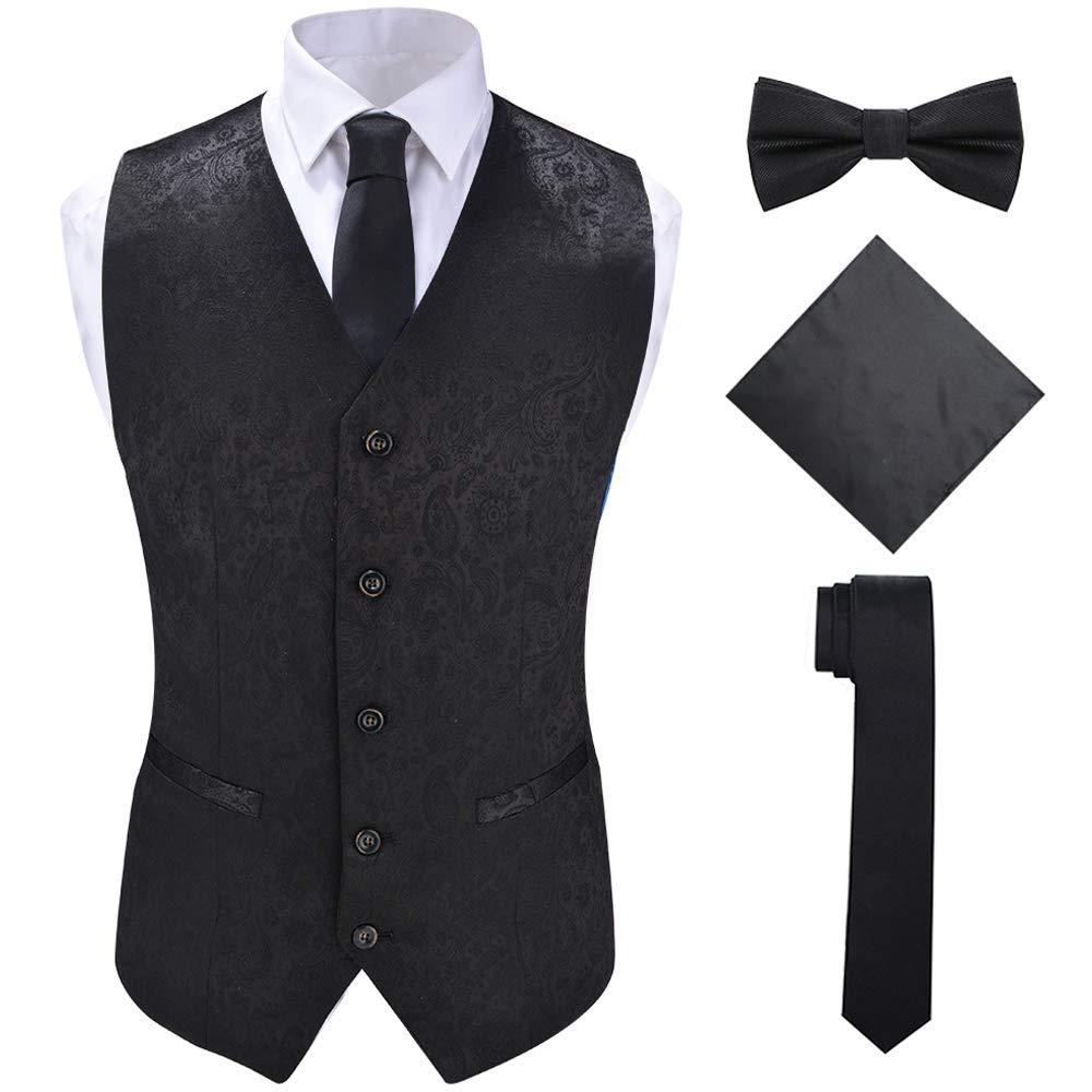 Men's Black Suit Vest Set with Neck Tie Hanky for Tuxedo or Suit,Black,4XL by SuiSional