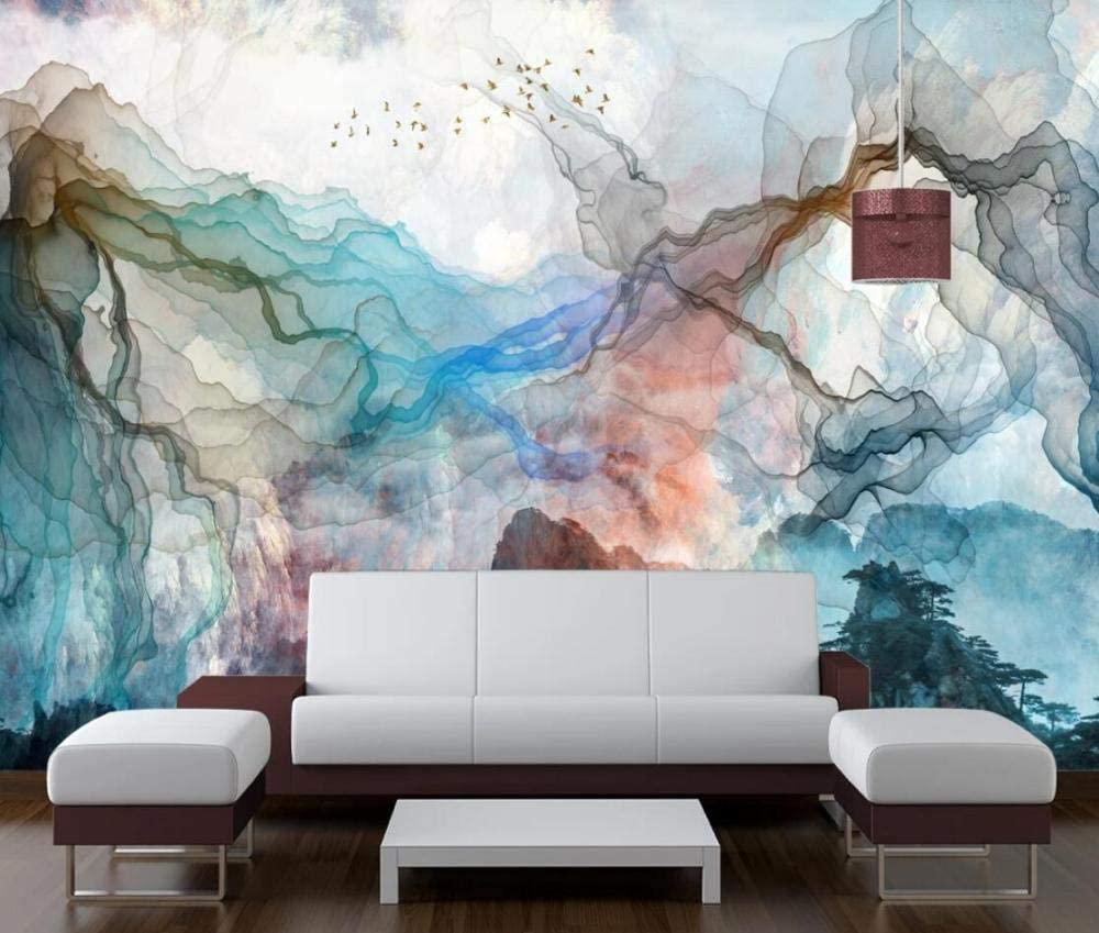 Wall Mural 3D Chinese Style Hand Drawn Abstract Lines Ink