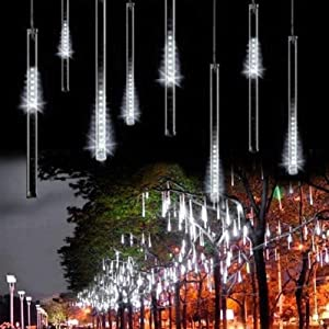LDUSA HOME Outdoor Lights,LED Meteor Shower Rain Lights, Waterproof Garden Lights 30cm 8 Tubes 144leds Snow Falling Raindrop Icicle Cascading Light for Holiday Wedding Xmas Tree Decor (White)