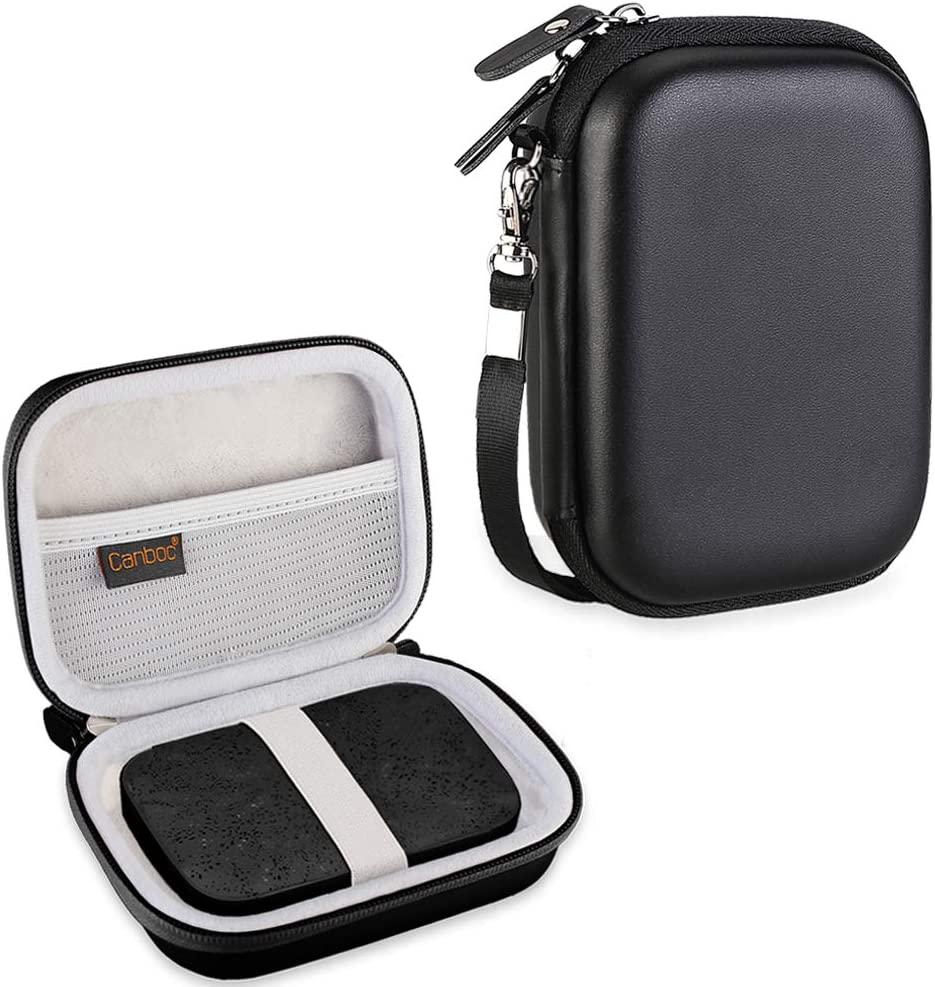 Canboc Carrying Case for HP Sprocket Portable Photo Printer and (2nd Edition), Polaroid Zip Mobile Printer, Lifeprint 2x3 Photo and Video Printer, Mesh Pocket fit Photo Paper and Cable, Black