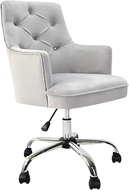 Amazon Com Xizzi Cute Desk Chair Computer Chair Adjustable Swivel Home Office Chair Office Chair With Wheels And Arms Grey Kitchen Dining