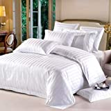 Linenwalas 100% Cotton 5 Star Hotel Luxury Bedding Set of 9 Pieces with Imported Goose Down and Feather Pillows - Royal White