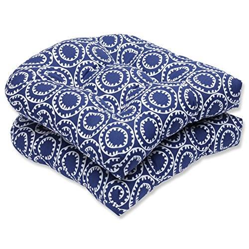 Pillow Perfect Outdoor Ring a Bell Wicker Seat Cushion, Navy, Set of 2 (Furniture Wicker Light Blue)