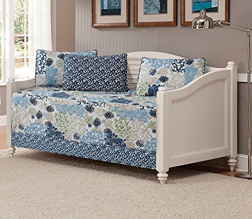 Floral Daybed - Fancy Collection Quilted Bedspread Coverlet Set Embossed Floral Blue Off White Green Beige New (DayBed)
