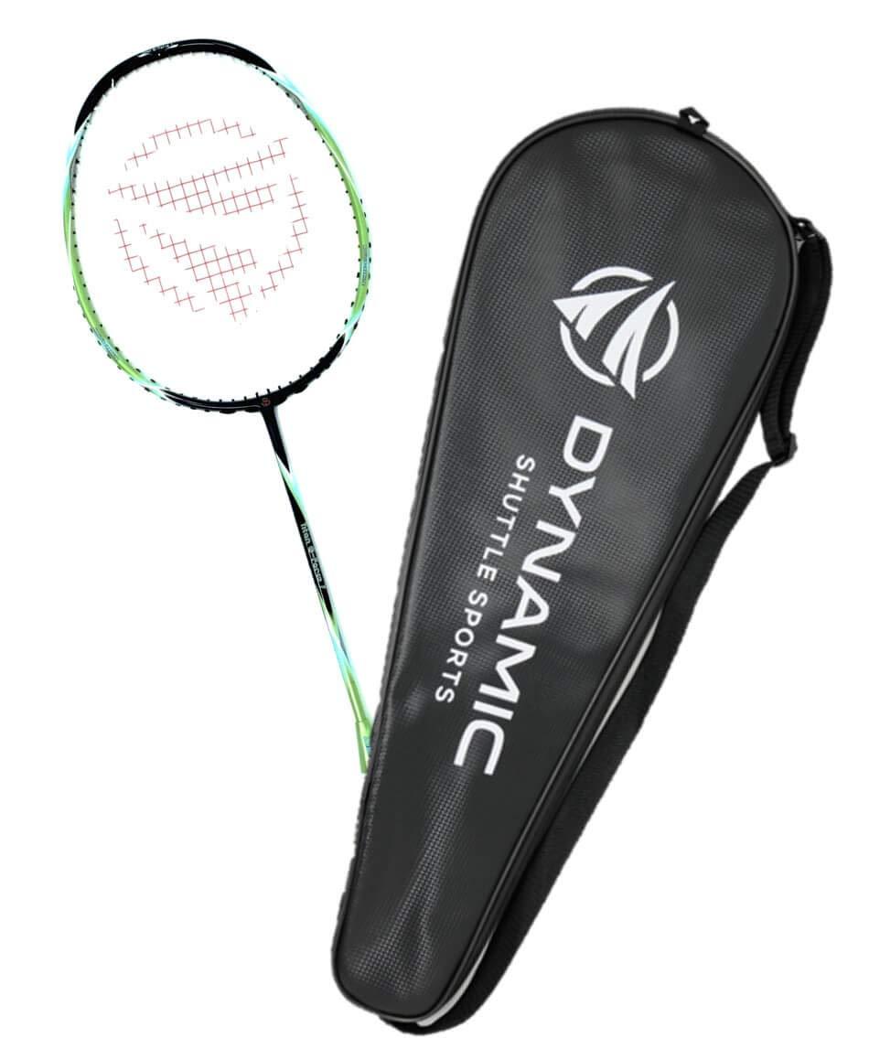Dynamic Shuttle Sports Titan G-Force 7 Professional Carbon Fiber Badminton Racquet, Lightweight Badminton Racket Including Cover (Green)
