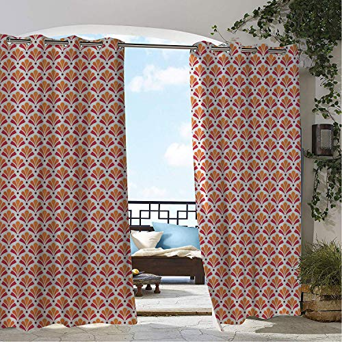 Patio Waterproof Curtain Art Deco Floral Inspired Damask Repetitive Abstract Motifs Illustration Marigold Dark Pink and Maroon Porch Grommets Decor Curtains 72 by 108 - Abstract Tapestry Damask