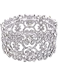 Women's Austrian Crystal Bride Heart Art Deco Elastic Stretch Bracelet Clear