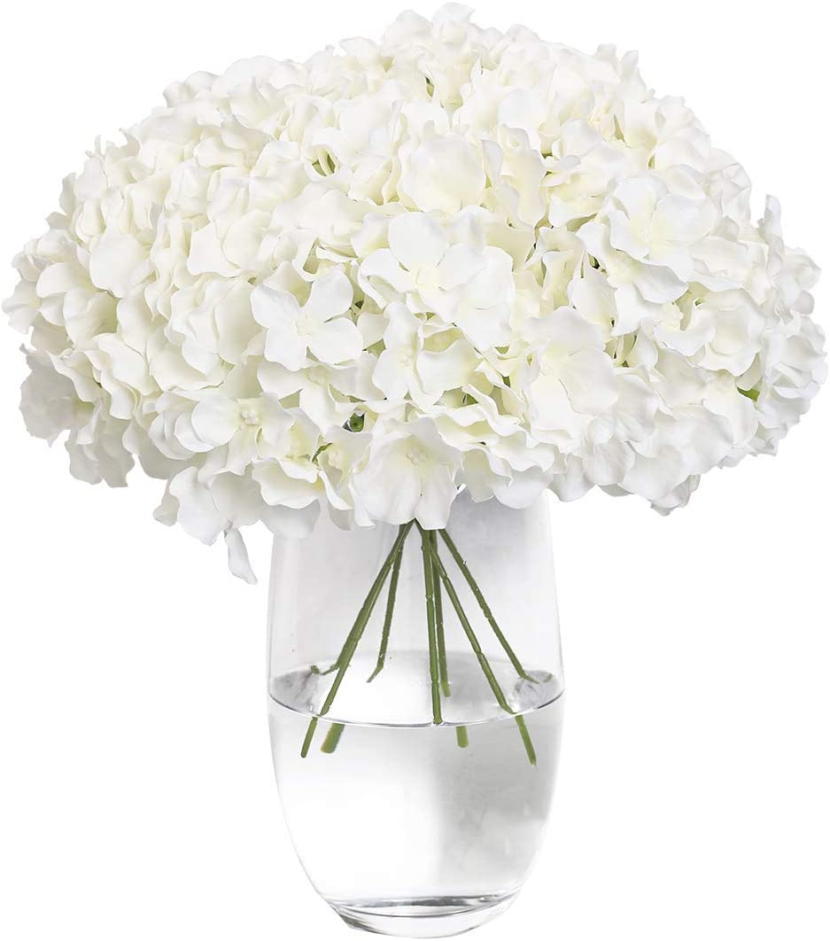 Tifuly Hydrangea Silk Flower White 12 Heads Artificial Flower Head DIY Wedding Centerpieces Bouquets Home Office Decor with Long Stems(White)