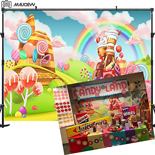 Maijoeyy 7x5t Children Party Photography Backdrop Candyland Party Decorations Photography Props Lollipop Rainbow Backdrop for Pictures Backgrounds for Photos Studio Props
