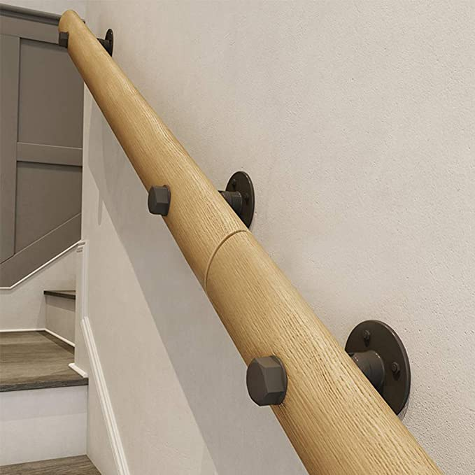Barandillas de escalera madera vintage, soporte de barandilla redondo antideslizante montado en la pared, altillo interior Barandillas de barandas para ancianos Varilla de soporte del pasillo,100cm: Amazon.es: Hogar