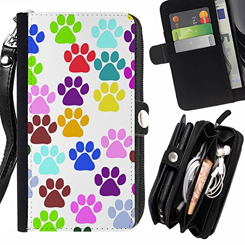 Wallet Prints Paw (FJCases Paws Print Animal Card Holder Wallet with Strap and Zipper Cover Case for Samsung Galaxy S7)