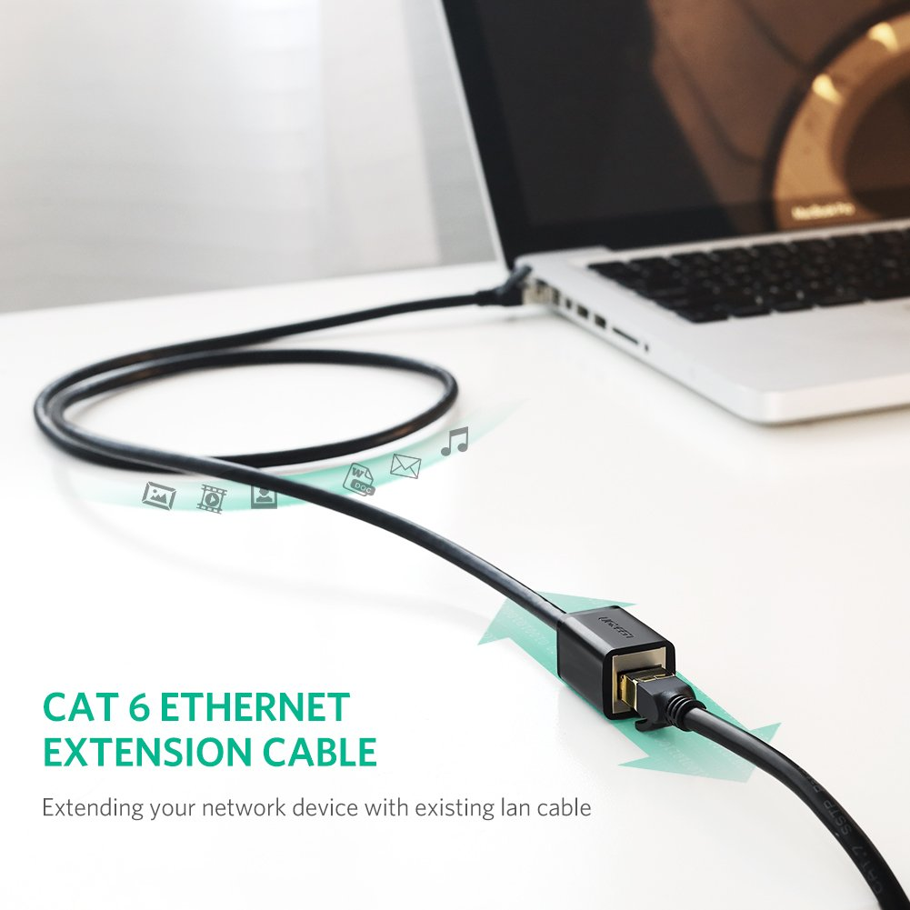 Ugreen Ethernet Extension Cable Network Cat6 Lan Jack Wiring Patch Rj45 Cords Shielded Male To Female Connector 3ft 1m Computers Accessories