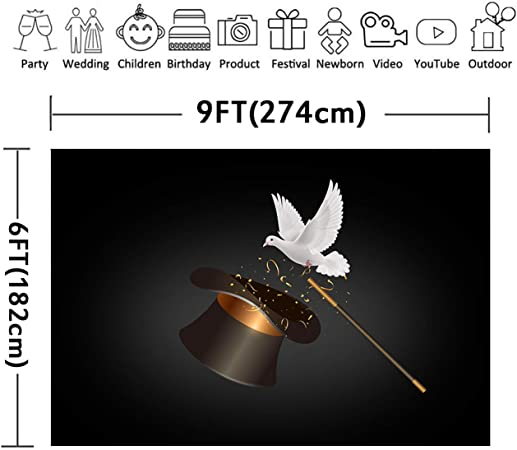 10x6.5ft Background Magician Hat Pigeon Photography Backdrop Photo Props LYFU092