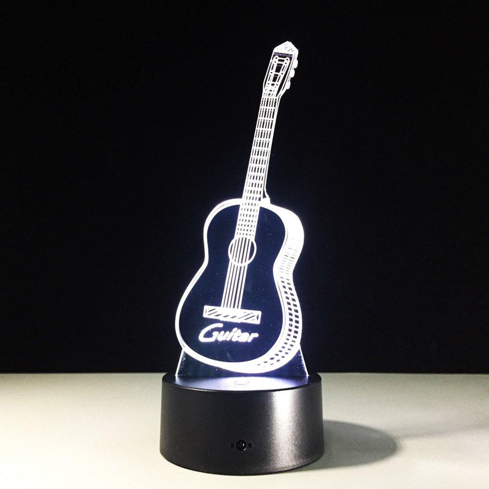 PIXNOR LED 3d Lampe Illusion Gitarre 3D nahezu Leuchten LED USB-Touch mit 7 Farbe optische T/äuschung Schreibtisch Leuchten f/ür Kinder nach Hause Raumdekoration