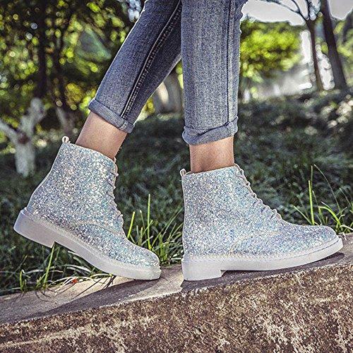 Boots 40 Lederstiefel Einzelne Ferse Glanz Stiefel 36 Schuhe Mode Schnürer Frauen Top Sonnena Weiß Stiefel Martin Stiefel Plateau Damen Sexy High Warm Party Elegant Mode Flache wCHfEAfqS