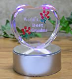 Light up LED Heart for Grandma - World's Best Grandma - Etched Glass Heart on LED Lighted Base