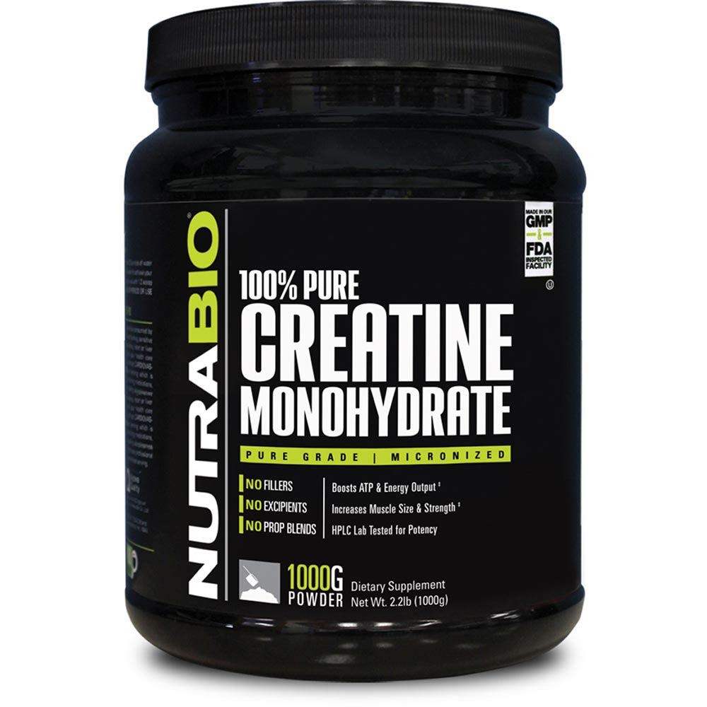 NutraBio 100% Pure Creatine Monohydrate (1000 Grams) - Micronized, Unflavored, HPLC Tested