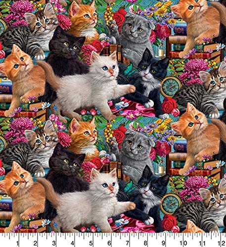 Kittens And Cats Playing With Toys 100/% Cotton Patchwork Fabric