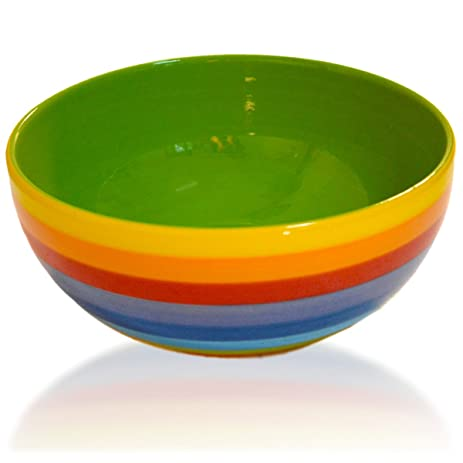 Rainbow Striped Stoneware Ceramic Salad And Multipurpose Bowl 8 Inch By CinMin