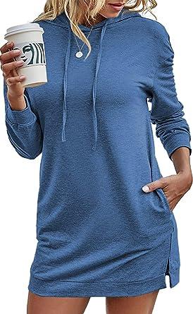EFAN Womens Long Sleeve Winter Hoodie Dress Tie Dye Printed Drawstring Long Pullover Hooded Sweatshirts with Pockets