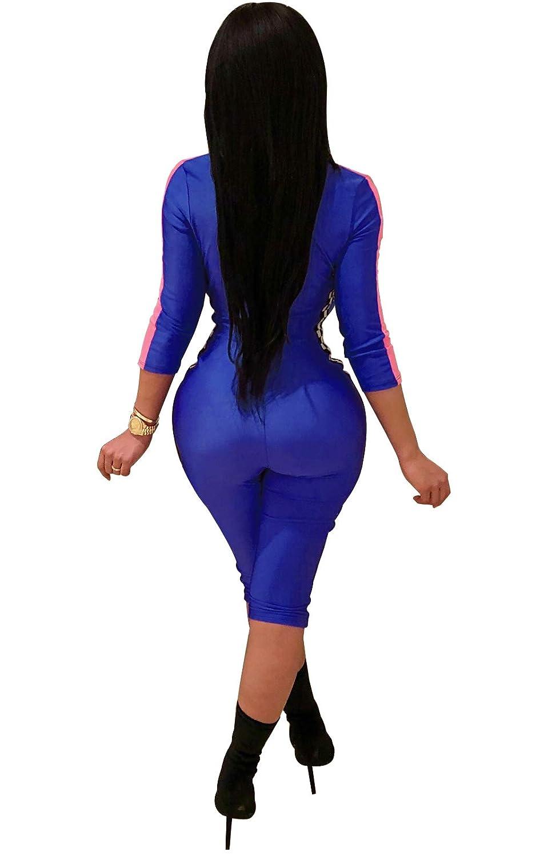 c057cb57d91e Amazon.com  Acelyn Women s Sexy Front Zipper Bodycon Checkered Club Party Short  Capri Pants Jumpsuits Rompers  Clothing