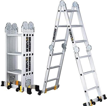 ZR- Escalera Telescópica Aluminio Multipropósito Plegable Escalera De Extensión Tarea Pesada Paso De Combinacion Fabricado Para EN131 Hasta 330 Libras -Fácil de almacenar y fácil de llevar: Amazon.es: Hogar