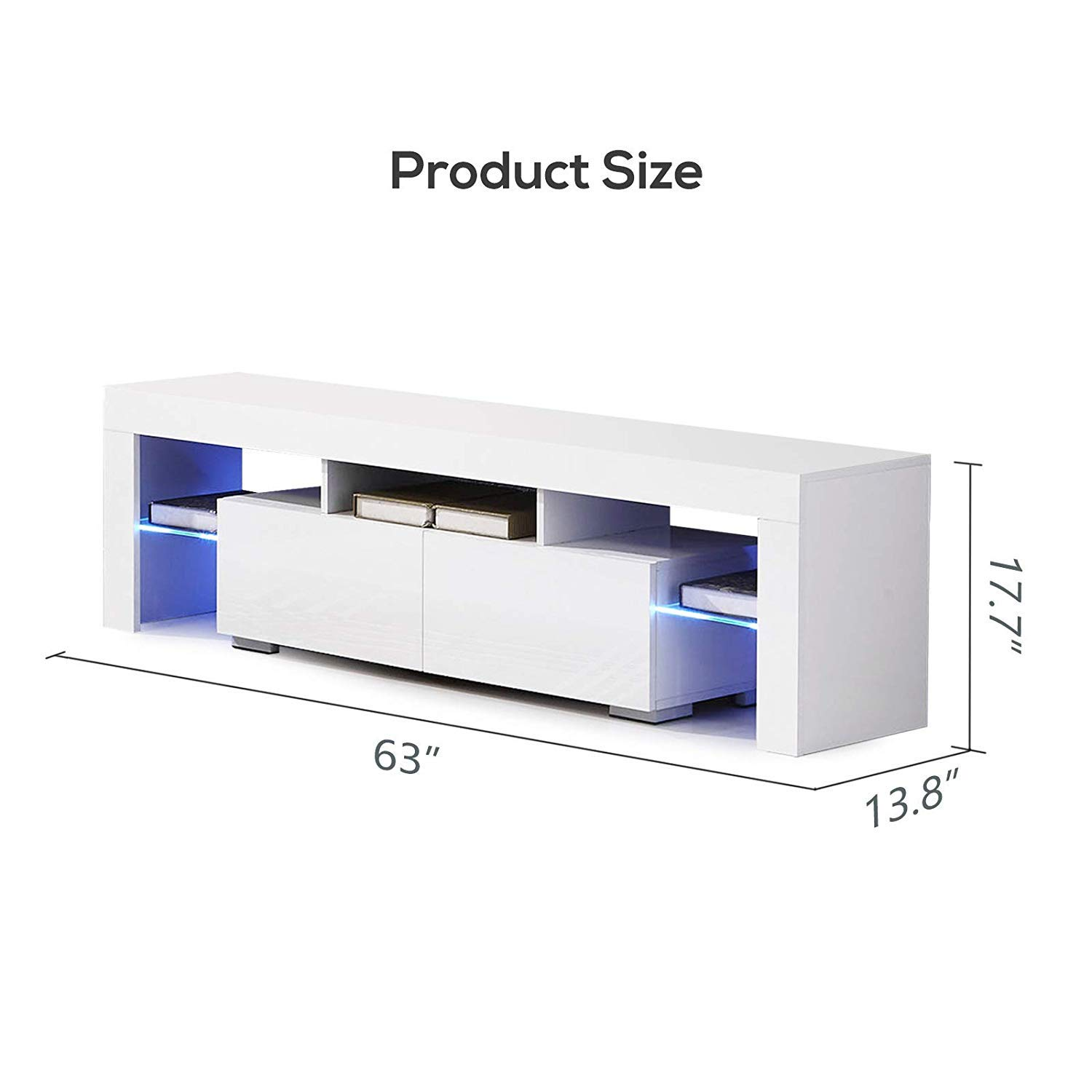 High Gloss TV Stand for 65 Inch TV LED TV Stand with Storage and 2 Drawers Living Room Furniture White mecor Modern White TV Stand with LED Lights